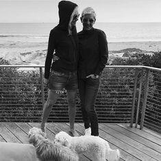 Portia, Ellen and pups Ellen Degeneres And Portia, Ellen And Portia, All I Want, Love You, Portia De Rossi, The Ellen Show, Are You Happy, Leather Pants, Winter Jackets