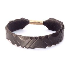 Carved leather bracelet with brass clasp by kutilajos on Etsy, $12.00