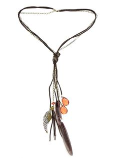 Leather Feather Necklace in Brown - $16.80 : FashionCupcake, Designer Clothing, Accessories, and Gifts