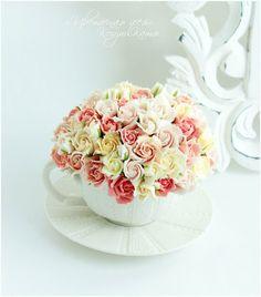 «Розочки в чашечке» из полимерной глины Clay Craft by Deco « Керамическая флористика. Цветы из холодного фарфора. Уроки и мастер-классы