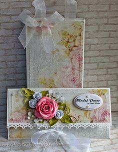Ciąg dalszy kopertówek, ale teraz zapakowane do torebek.     Etykieta Fancy Tags To, liście LR0192, Rose Leaf   Papiery Stalowe Niebo , My...