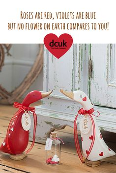 Show how much you care with a personalised Valentines gift from The Duck Company, DCUK. Our range of Valentines ducks can be personalised with the name of your choice. Visit our website to view the collection!