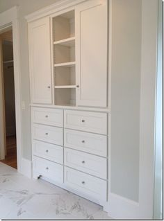 built in linen existing closet into this