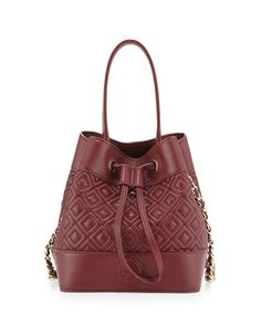 Marion Quilted Mini Bucket Bag, Red Agate by Tory Burch at Neiman Marcus.