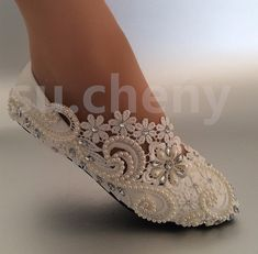 Details about su.cheny White ivory pearls rhinestones lace flat Wedding shoes Bridal size Picture 2 of 14 Wedding Shoes Bride, Wedding Boots, Wedding Day, Wedding Dresses, Sandals Wedding, Wedding White, Wedding Nails, Trendy Wedding, Boho Wedding