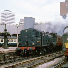 LMS Fairburn Class 4 2-6-4T no. 42251 departs with the Bradford portion of the 09.25 Kings Cross to Bradford express.  29th August 1967
