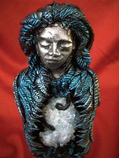 Eternal Goddess Fine Silver Celestite Statue by LunaSolare on Etsy Wiccan Altar, Pagan, Metallic Blue, Blue Tones, Beautiful Lights, Random Things, Sculpting, Moon, Hand Painted
