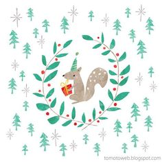 Squirrel Christmas Wreath by tomoto Merry Little Christmas, Noel Christmas, Christmas Design, Christmas Wreaths, Christmas Crafts, Xmas, Squirrel Illustration, Winter Illustration, Christmas Wreath Illustration