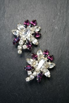 Vintage 1940s  Claw-set Diamanté Clip-on by VintageJewelleryFun