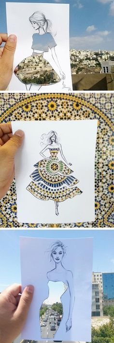 Shamekh Bluwi, an architect and fashion illustrator, creates beautiful paper cut-outs with women whose dresses become whatever you hold them up against.