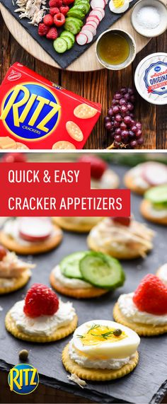 Elevate your snacking to create party-worthy treats with this collection of Quick and Easy RITZ Cracker Appetizer recipes. With five different sweet and savory flavor combinations ready in just five minutes, these topping options—like cream cheese and radish or cream cheese, raspberries, and honey—are sure to become go-to for casual entertaining. Head over to Kroger to grab everything you'll need to share these bites with friends and family.