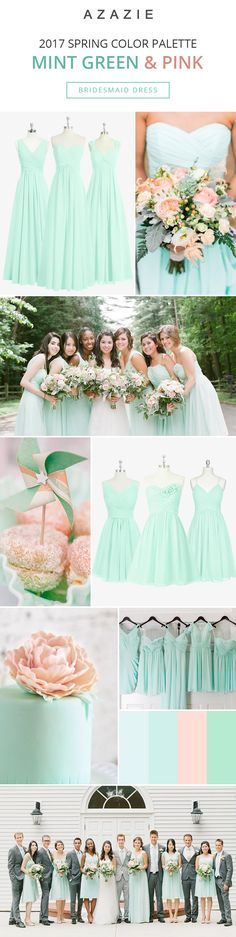 Mixing-and-matching your bridesmaids is easy! Azazie offers 50+ colors to choose from. We offer color swatches to make mixing & matching easier. Wedding tip: Try out our sample program before you purchase to make sure you are completely in love with a dress! Azazie has over 100 styles from delicate lace to bold satins. Shop our affordable bridesmaid dresses today!| Photos courtesy of kellysweet.com