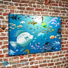 Çizgi Balıklar Tablo #çocuk_odası_tabloları #genç_odası_tabloları
