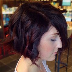 Dark violet, brown and plum pieces on this classic bob haircut :: RedBloom Salon
