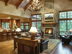Unbelievably cozy great room! Cliffwood Trail Lodge Home Great Room Photo from houseplansandmore.com