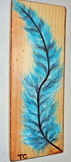 Feather painting, blue feather, acrylic, wood painting, burning, blue feather art, feather wall art, rustic, blue feather, Tcavanwoodworks