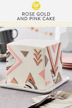 It's hip to be square with this Rose Gold and Pink Cake. Decorated with buttercream and fondant, this artsy cake can be customized to suit any occasion. Add a fun message for a birthday or a cute cake topper for a bridal shower or girl's night. Sweet Cakes, Cute Cakes, Fondant Cakes, Cupcake Cakes, Cake Cookies, Cake Inspiration, Metallic Cake, Girly Cakes, Pear Cake