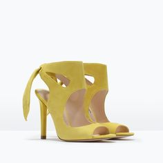 LEATHER HIGH HEELED SANDALS WITH BOW-View all-Shoes-WOMAN | ZARA United States