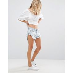 One Teaspoon Bandits Lo Waist Relaxed Shorts (1.500 ARS) ❤ liked on Polyvore featuring shorts, blue, ripped denim shorts, destroyed shorts, blue jean shorts, ripped jean shorts and distressed denim shorts