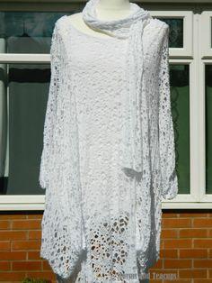 WHITE CROCHET LAGENLOOK BOHO HIPPY 3 PIECE TUNIC/DRESS PLUS SIZE BNWT, UK STOCK