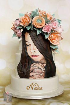Reverie - cake by Anna Mathew Vadayatt Pretty Cakes, Cute Cakes, Beautiful Cakes, Amazing Cakes, Fondant Rose, Fondant Cakes, Cupcake Cakes, Dog Cakes, Fondant Baby