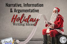 Before your pants are covered in green glitter and your classroom floor is littered with candy cane wrappers, make sure those writing skills you taught during that one unit in that one month are not forgotten! I've thought up some fun writing activities for the week before the holidays, plus key terms to go with them!