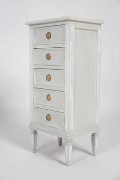 """French """"chiffonnier"""" (lady's cabinet — """"chiffon"""" is rag in French) in the Louis XVI style, of painted cherrywood with hand-carved details. #french #wood #louisXVI"""