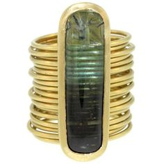 Long Oval Tourmaline Ring on Multibands