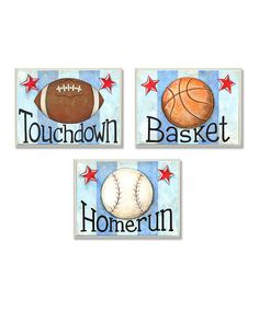 Look at this Blue Stripe Sports Balls Wall Art Set on #zulily today!