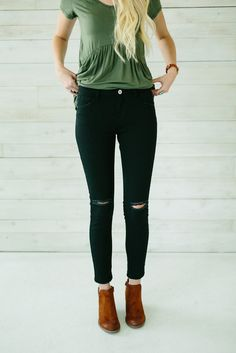 Mid Rise Distressed Skinny Jeans- Black