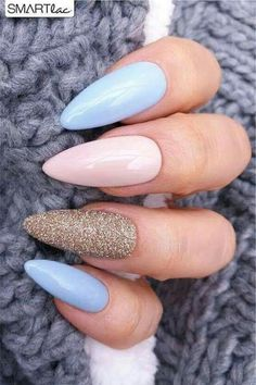 nails pink and blue ~ nails pink ; nails pink and white ; nails pink and black ; nails pink and blue ; nails pink and gold Gel Nagel Design, Almond Nails Designs, Spring Nail Art, Cute Acrylic Nails, Acrylic Spring Nails, Winter Nails, Summer Nails, Acrylic Nails For Summer Almond, Summer Holiday Nails