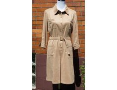 UltraSuede Shirt Dress Vintage Talbots Petites. Belted, pockets, knee length, 70s style made in the 90s, Cream Tan by Have2Shop on Etsy