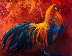 Strutting His Stuff - Rooster by Marion Rose Acrylic ~ 14 x 18