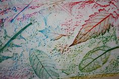 watercolors crayon relief over leaves (water colors in separate paint pots with separate brushes)