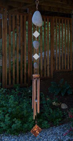 Carillon de vent, Pierre de la plage, cuivre, carillons éoliens, Windchime, naturel, carillons éoliens, carillons éoliens contemporain, moderne