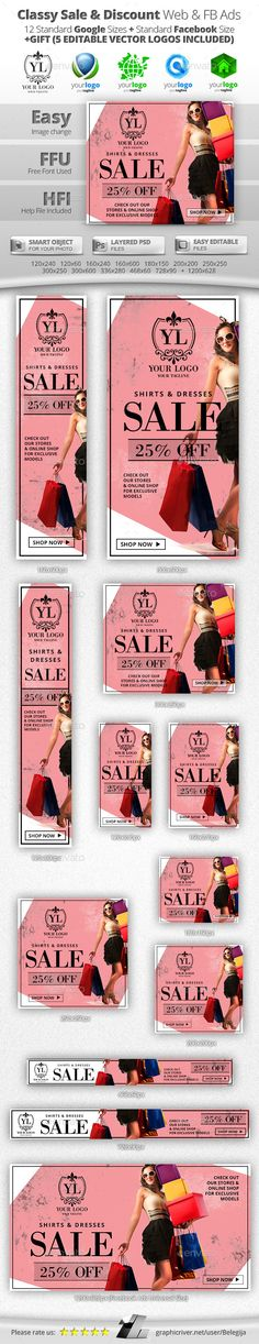 Classy Sale & Discount Web & Facebook Banners - Banners & Ads Web Elements