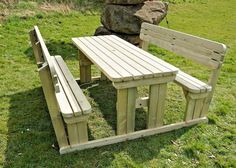 Our picnic table and bench sets, garden seats, fence benches are heavy duty in construction with constructional grade pressure-treated timber for maximum durability. More than 100 different Picnic Tables and Benches available! Round Picnic Table, Picnic Table Bench, Table And Bench Set, Bench With Back, Garden Seating, Outdoor Seating, Outdoor Tables, Wooden Pallet Projects, Wooden Pallets