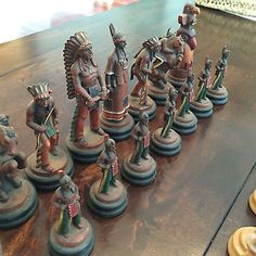 Anri Italy - Vintage Cowboys and Indians Chess Set