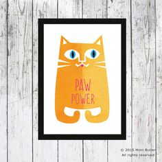 Paw Power Cat giclee print  Cat wall art  Ginger Cats by LeCatClub