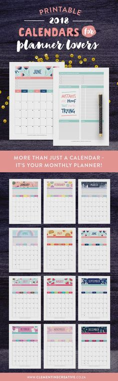 Keep up with events, important dates, birthdays, exams or even your fitness routine with this cute printable 2018 calendar. Every month was inspired by a special holiday. 2018 Planner, Monthly Planner, Planner Pages, Printable Planner, Happy Planner, Printables, Planner Ideas, Printable Calendars, Planner Inserts