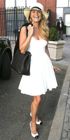 Christie Brinkley watching the US Open men`s semifinals at the Arthur Ashe Stadium in New York.