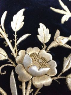 Also called goldwork Bead Embroidery Patterns, Couture Embroidery, Embroidery Fashion, Silk Ribbon Embroidery, Fabric Ribbon, Embroidery Stitches, Machine Embroidery, Embroidery Designs, Gold Work