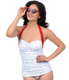 Esther Williams Vintage 1950s Style Pin Up White & Blue Gingham Floral Cherries Suzy Swimsuit