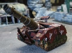 This is my BOOM GUN. Ork tank on a Leman russ chassis - imperial paint still on it - with a massive gun.