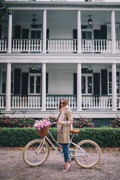 Gal Meets Glam Winter Bike Ride -Pure Cycle Pink Bike, Burberry trench, J.Crew sweater, J.Crew jeans, Ferragamo pumps, Ray Ban sunglasses & Mansur Gavriel bag