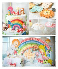 Animals & Rainbows Themed 2nd Birthday Party via Kara's Party Ideas KarasPartyIdeas.com The Place for ALL THINGS PARTY! #animalparty #zooanimalparty #rainbowparty #pastelrainbowparty