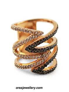 Rose Gold plated white and black cubic zirconia ring jewellery Rings And Wings, Rings Workout, Jewelry Rings, Jewellery, Ring Sling, Cubic Zirconia Rings, Couple Rings, Bangles, Bracelets
