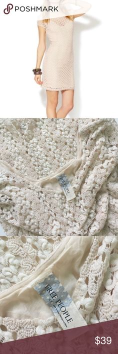 Free People Boho Crochet Dress Super cute Free People Crochet Lace Cream Dress. Great condition. Can also be worn as a tunic with leggings. Super boho Bohemian gypsy style. Offers welcome Free People Dresses