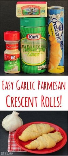 Easy Garlic Parmesan Crescent Rolls Recipe!  Just 4 ingredients and SO delicious... the perfect dinner side!