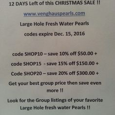 Sale at venghaus pearls !! Just in time for your Christmas designs!